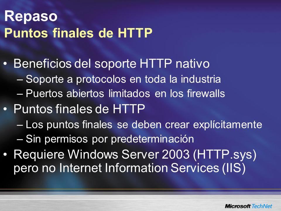 Repaso Puntos finales de HTTP Beneficios del soporte HTTP nativo –Soporte a protocolos en toda la industria –Puertos abiertos limitados en los firewal