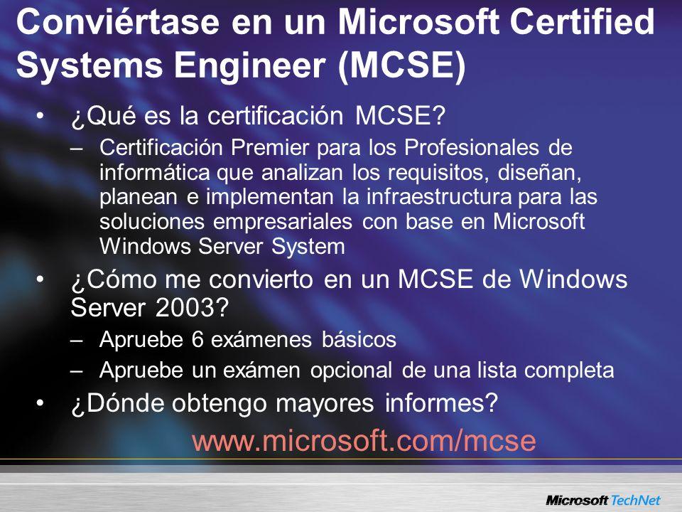 Conviértase en un Microsoft Certified Systems Engineer (MCSE) ¿Qué es la certificación MCSE? –Certificación Premier para los Profesionales de informát