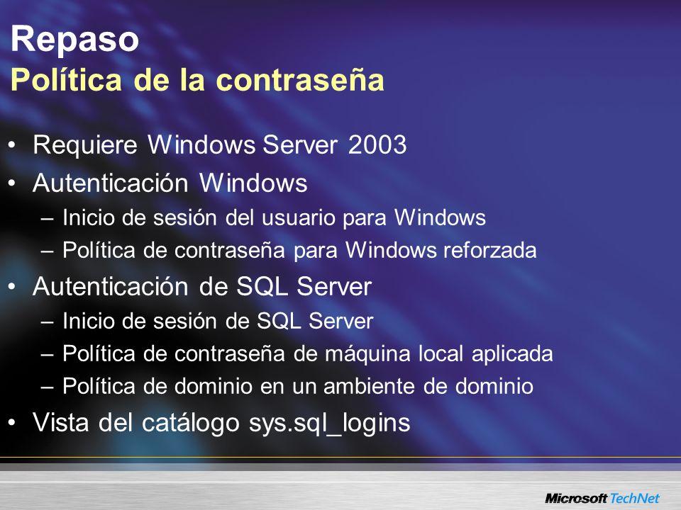 Repaso Política de la contraseña Requiere Windows Server 2003 Autenticación Windows –Inicio de sesión del usuario para Windows –Política de contraseña
