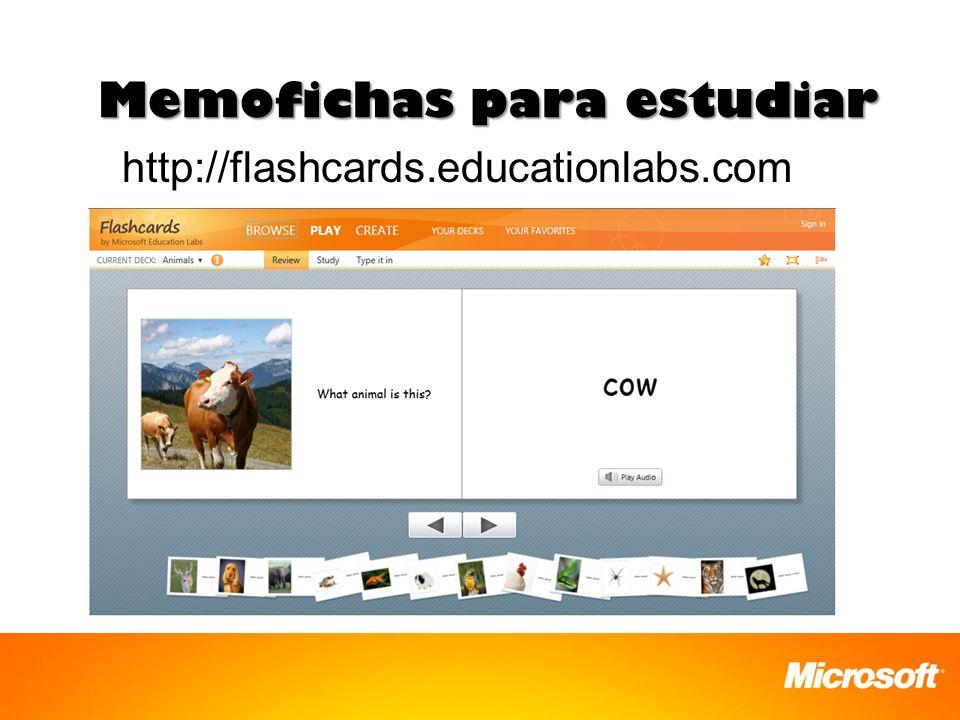 Memofichas para estudiar http://flashcards.educationlabs.com