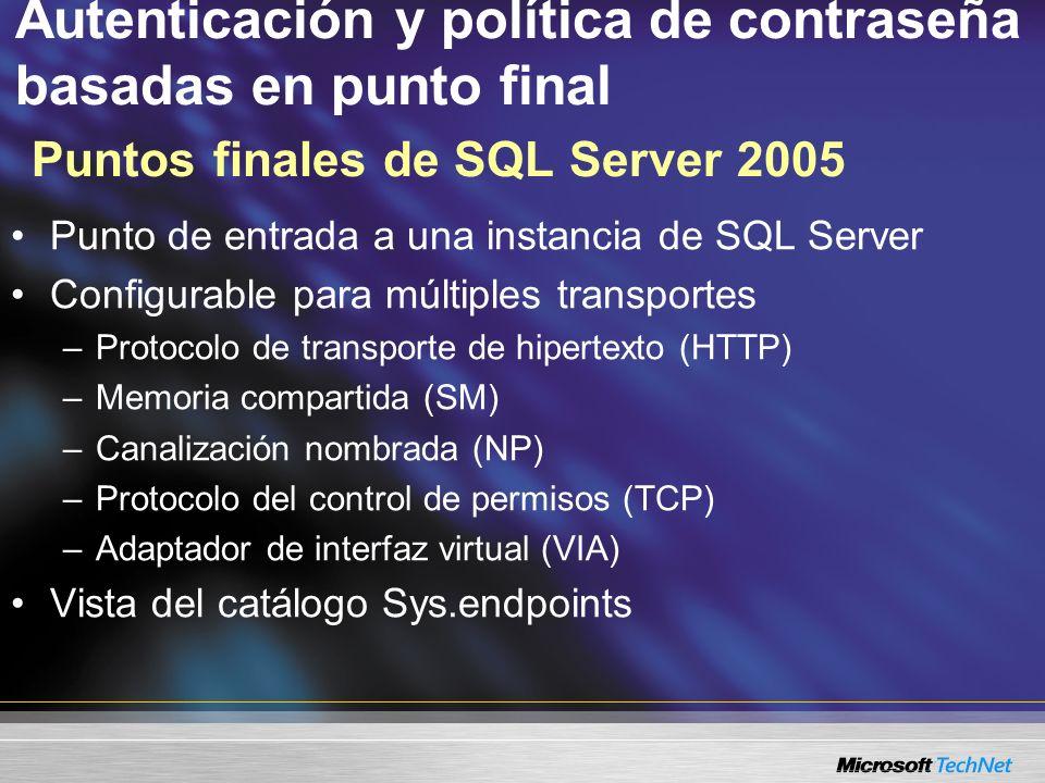 Autenticación y política de contraseña basadas en punto final Puntos finales de SQL Server 2005 Punto de entrada a una instancia de SQL Server Configu