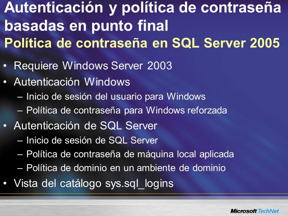Autenticación y política de contraseña basadas en punto final Política de contraseña en SQL Server 2005 Requiere Windows Server 2003 Autenticación Win