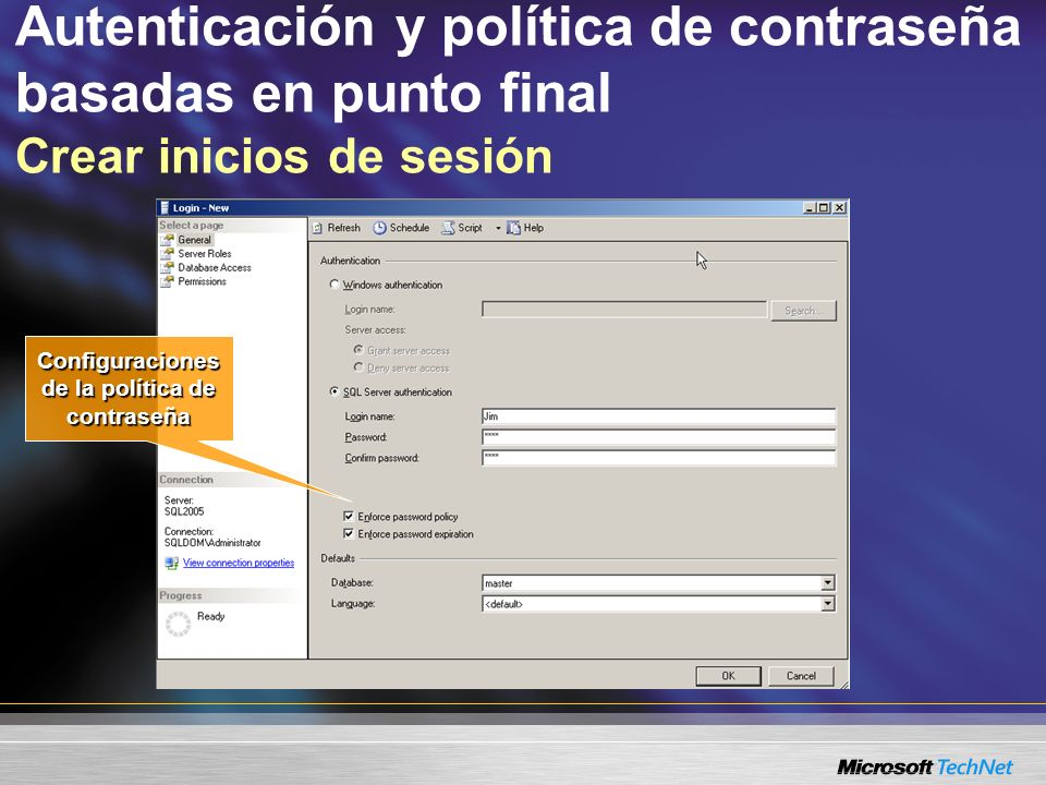 Autenticación y política de contraseña basadas en punto final Crear inicios de sesión Configuraciones de la política de contraseña