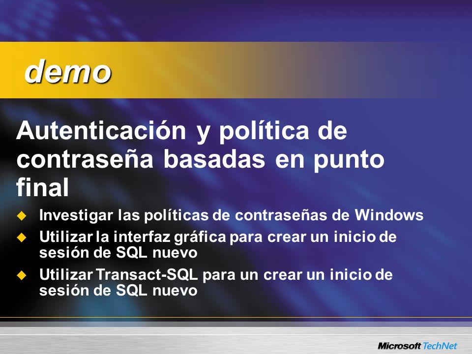 Autenticación y política de contraseña basadas en punto final Investigar las políticas de contraseñas de Windows Utilizar la interfaz gráfica para cre