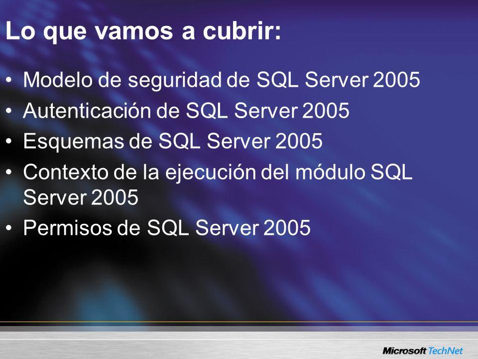 Lo que vamos a cubrir: Modelo de seguridad de SQL Server 2005 Autenticación de SQL Server 2005 Esquemas de SQL Server 2005 Contexto de la ejecución de
