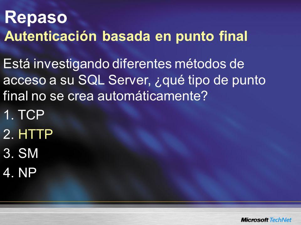 Repaso Autenticación basada en punto final Está investigando diferentes métodos de acceso a su SQL Server, ¿qué tipo de punto final no se crea automát