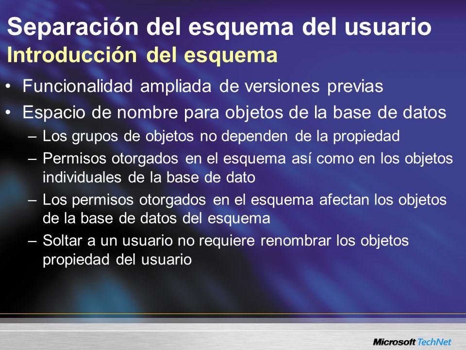 Separación del esquema del usuario Introducción del esquema Funcionalidad ampliada de versiones previas Espacio de nombre para objetos de la base de d