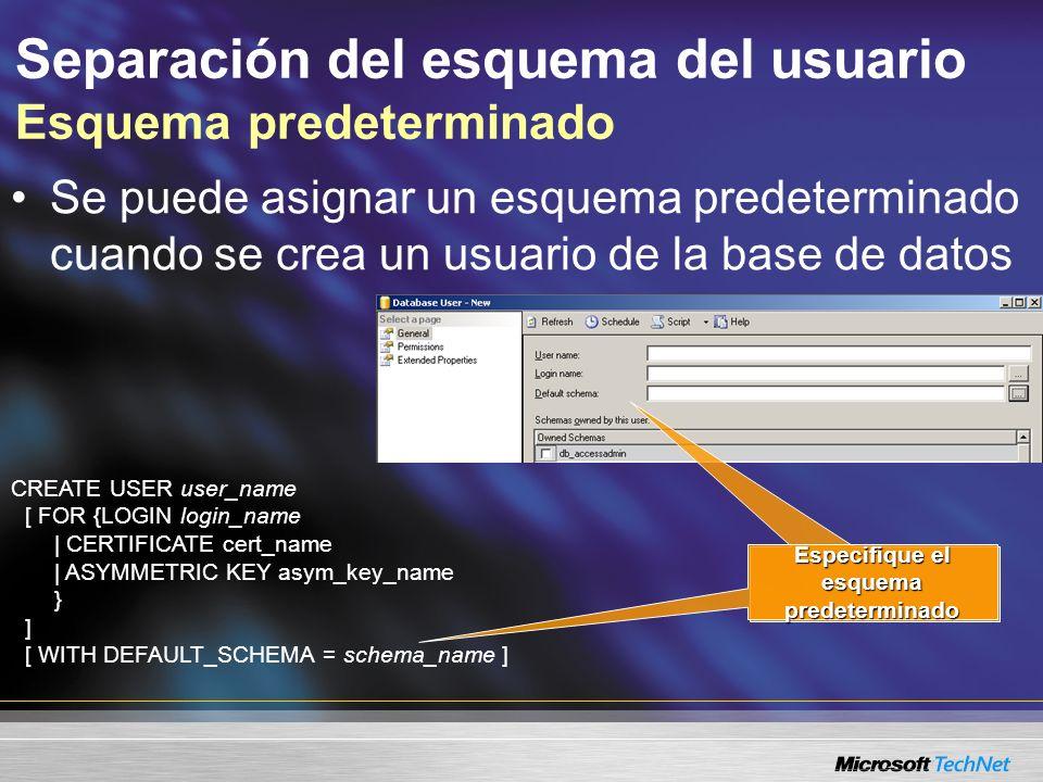 Separación del esquema del usuario Esquema predeterminado CREATE USER user_name [ FOR {LOGIN login_name | CERTIFICATE cert_name | ASYMMETRIC KEY asym_