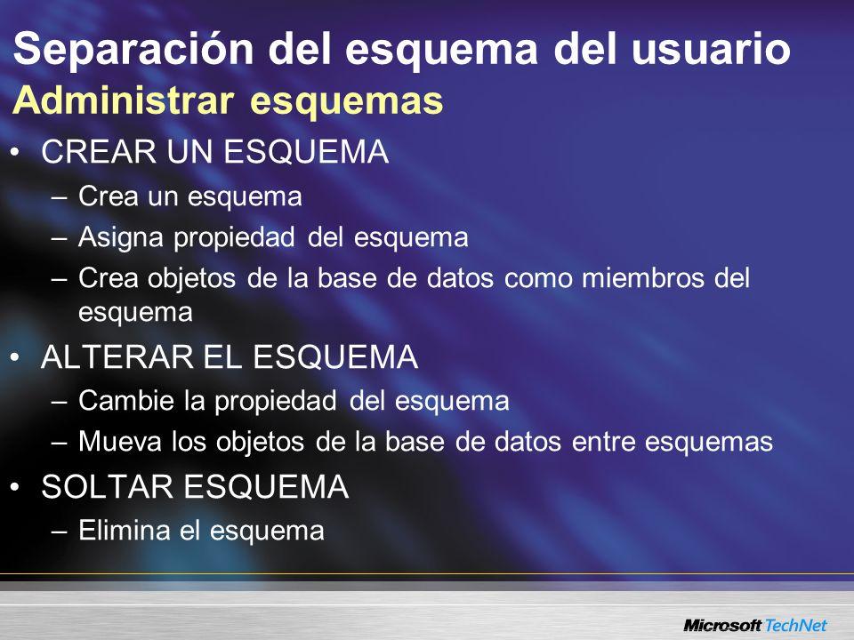 Separación del esquema del usuario Administrar esquemas CREAR UN ESQUEMA –Crea un esquema –Asigna propiedad del esquema –Crea objetos de la base de da