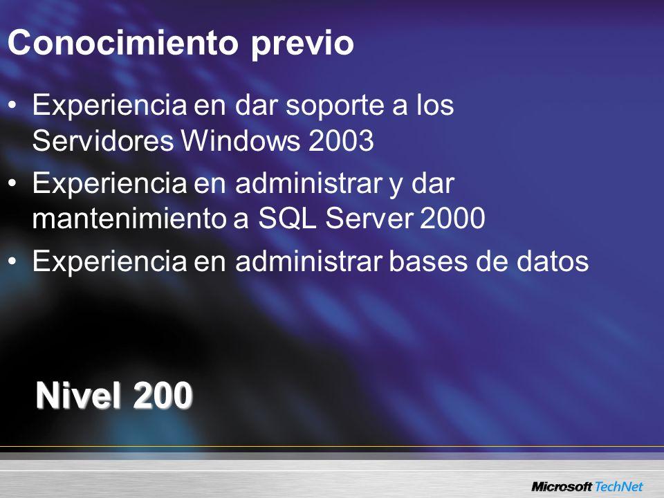 Conocimiento previo Nivel 200 Experiencia en dar soporte a los Servidores Windows 2003 Experiencia en administrar y dar mantenimiento a SQL Server 200
