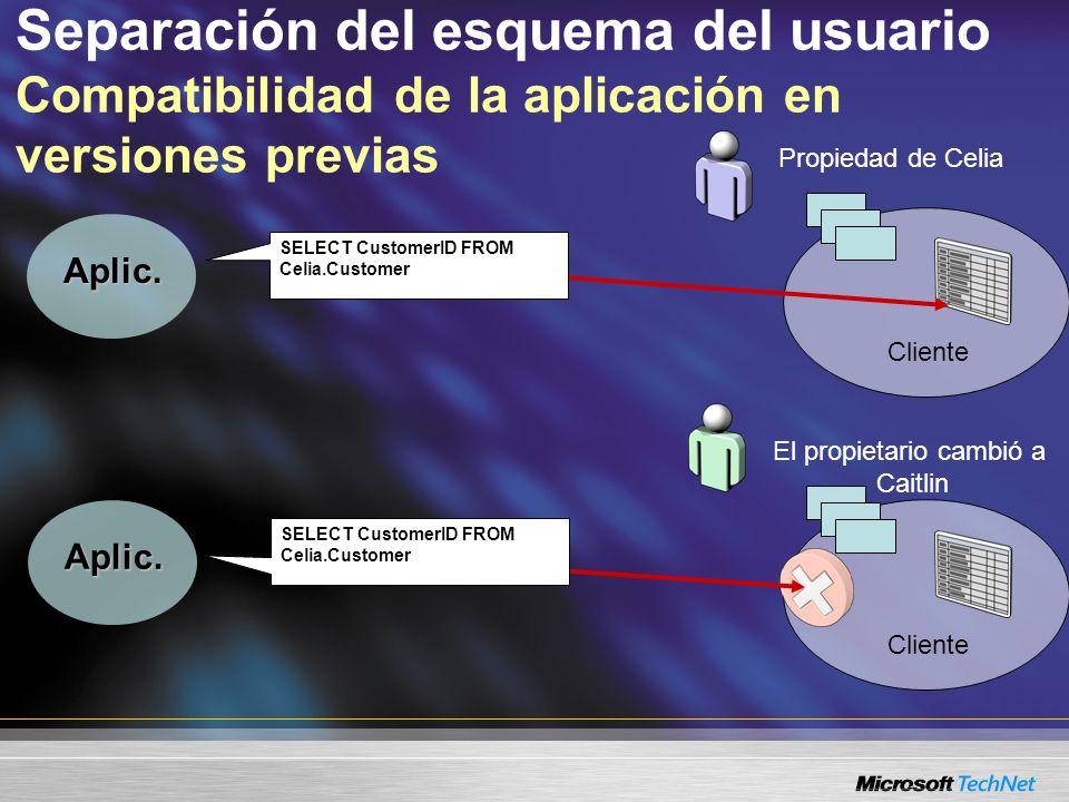 Separación del esquema del usuario Compatibilidad de la aplicación en versiones previas Propiedad de Celia Cliente Aplic. El propietario cambió a Cait
