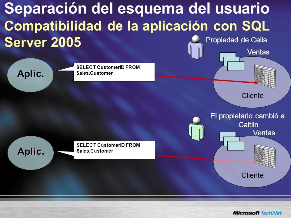 Separación del esquema del usuario Compatibilidad de la aplicación con SQL Server 2005 Propiedad de Celia Cliente Aplic. El propietario cambió a Caitl
