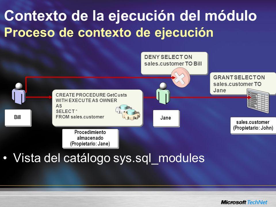 GRANT SELECT ON sales.customer TO Jane Contexto de la ejecución del módulo Proceso de contexto de ejecución Procedimiento almacenado (Propietario: Jan