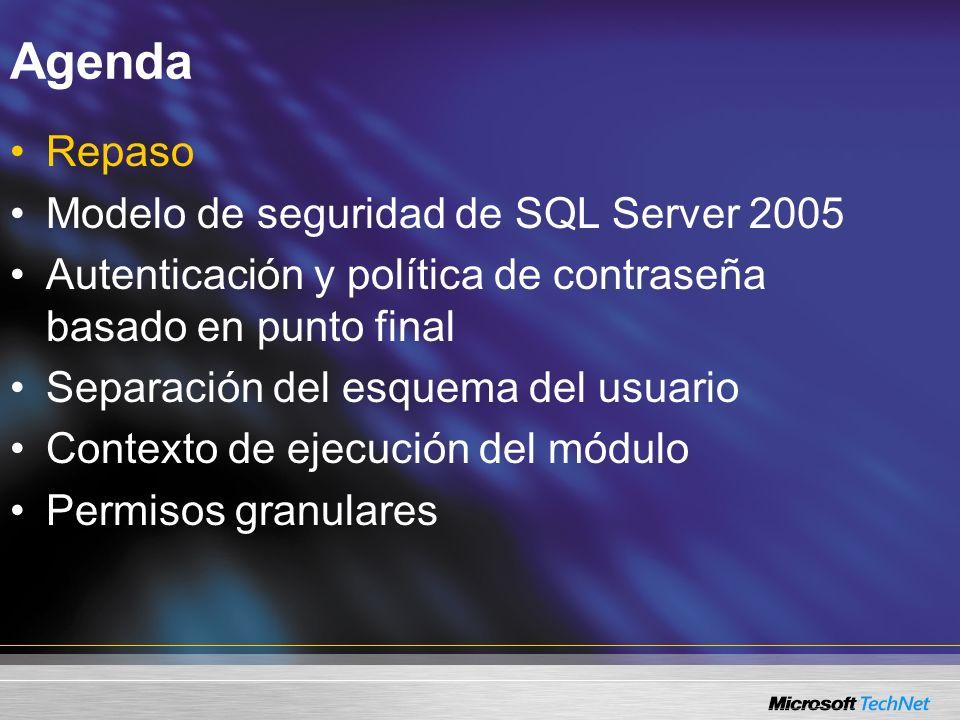 Autenticación y política de contraseña basadas en punto final Política de contraseña en SQL Server 2005 Requiere Windows Server 2003 Autenticación Windows –Inicio de sesión del usuario para Windows –Política de contraseña para Windows reforzada Autenticación de SQL Server –Inicio de sesión de SQL Server –Política de contraseña de máquina local aplicada –Política de dominio en un ambiente de dominio Vista del catálogo sys.sql_logins