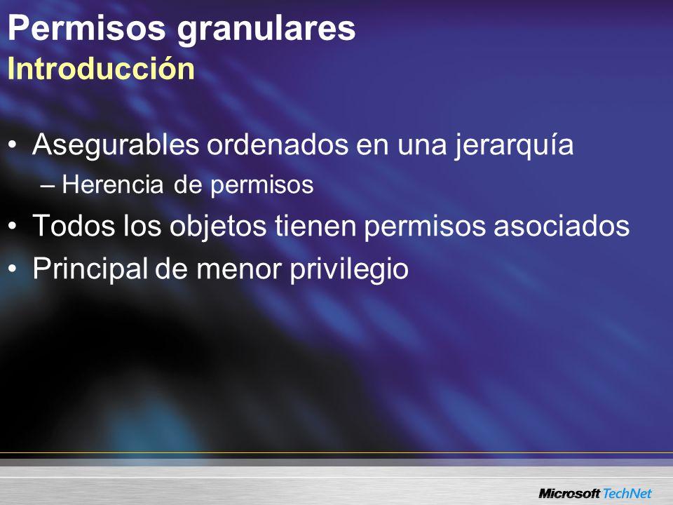 Permisos granulares Introducción Asegurables ordenados en una jerarquía –Herencia de permisos Todos los objetos tienen permisos asociados Principal de