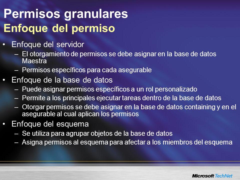 Permisos granulares Enfoque del permiso Enfoque del servidor –El otorgamiento de permisos se debe asignar en la base de datos Maestra –Permisos especí