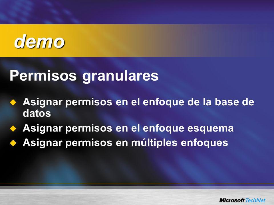 Permisos granulares Asignar permisos en el enfoque de la base de datos Asignar permisos en el enfoque esquema Asignar permisos en múltiples enfoques d