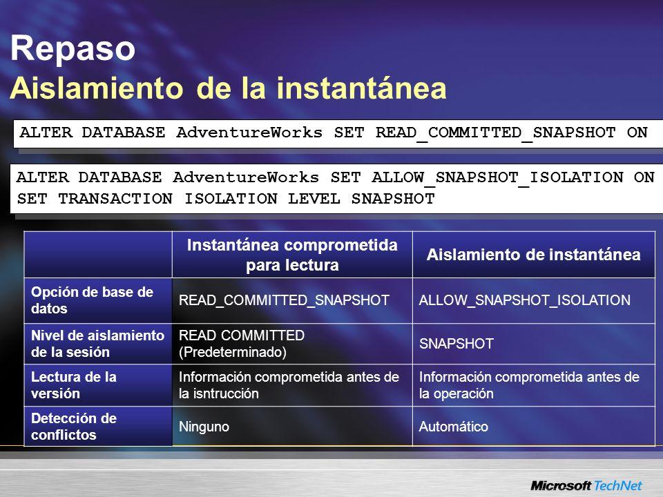 Repaso Aislamiento de la instantánea Instantánea comprometida para lectura Aislamiento de instantánea Opción de base de datos READ_COMMITTED_SNAPSHOTA