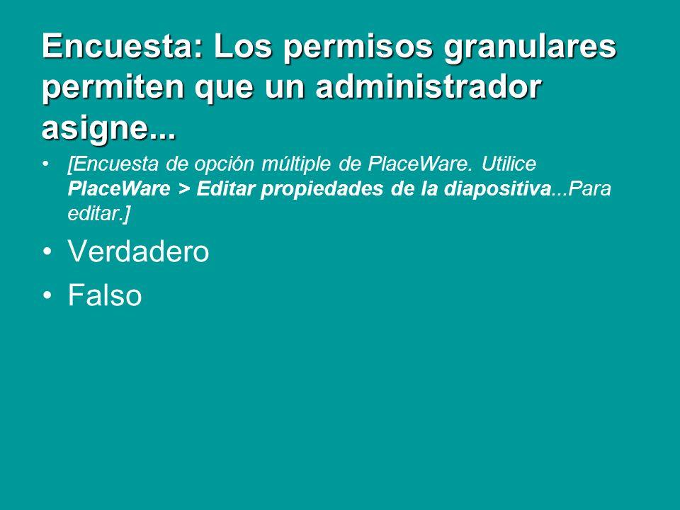 Encuesta: Los permisos granulares permiten que un administrador asigne... [Encuesta de opción múltiple de PlaceWare. Utilice PlaceWare > Editar propie