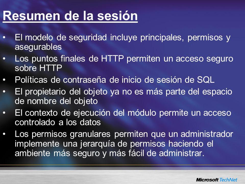 Resumen de la sesión El modelo de seguridad incluye principales, permisos y asegurables Los puntos finales de HTTP permiten un acceso seguro sobre HTT