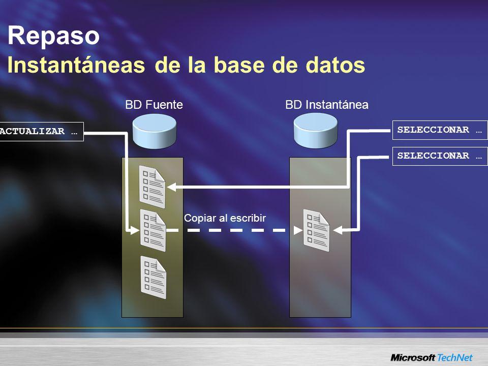 Repaso Vistas dinámicas de administración Vistas dinámicas de administración para bloqueos y operaciones sys.dm_tran_locks sys.dm_tran_active_transactions sys.dm_tran_database_transactions sys.dm_tran_session_transactions