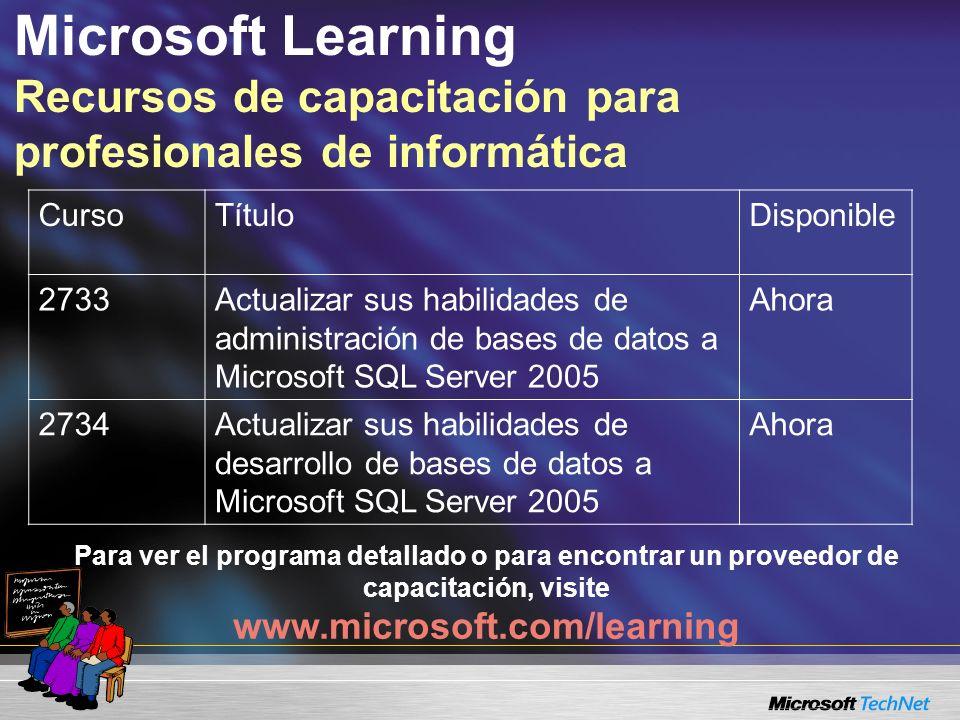 Microsoft Learning Recursos de capacitación para profesionales de informática Para ver el programa detallado o para encontrar un proveedor de capacita