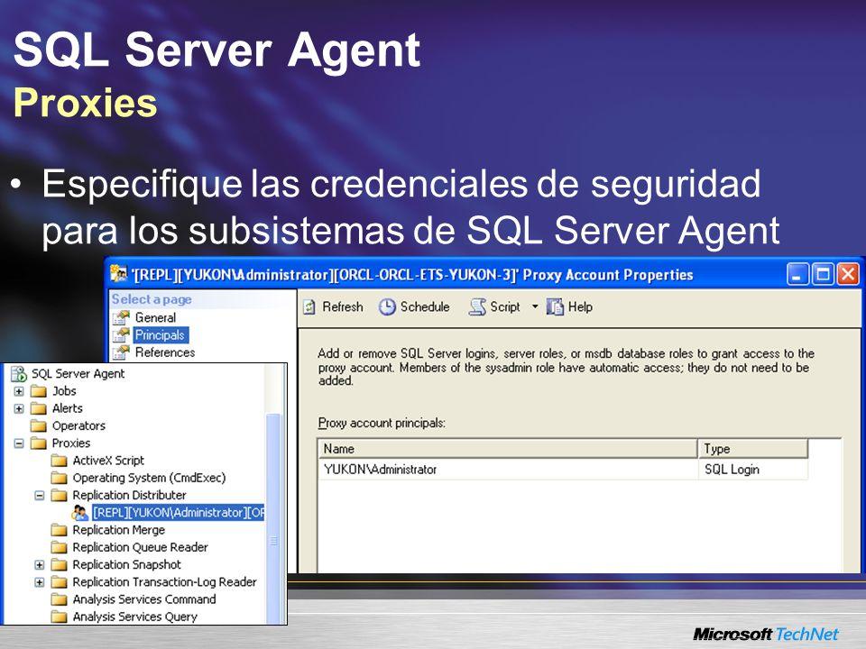 SQL Server Agent Proxies Especifique las credenciales de seguridad para los subsistemas de SQL Server Agent
