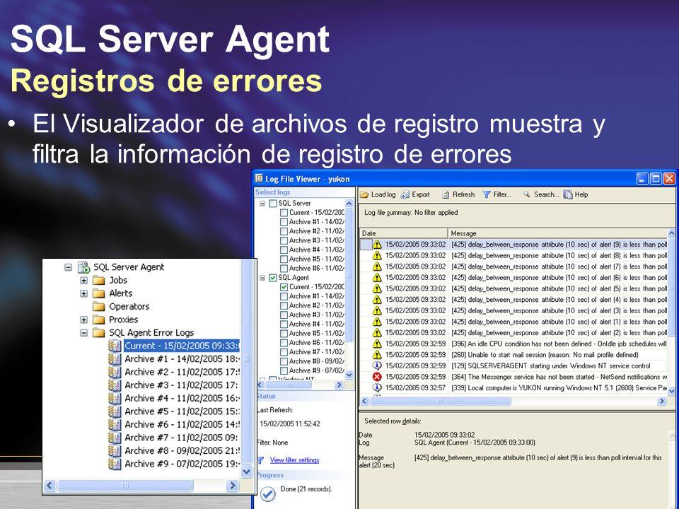 SQL Server Agent Registros de errores El Visualizador de archivos de registro muestra y filtra la información de registro de errores