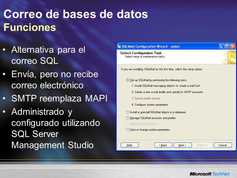 Correo de bases de datos Funciones Alternativa para el correo SQL Envía, pero no recibe correo electrónico SMTP reemplaza MAPI Administrado y configurado utilizando SQL Server Management Studio