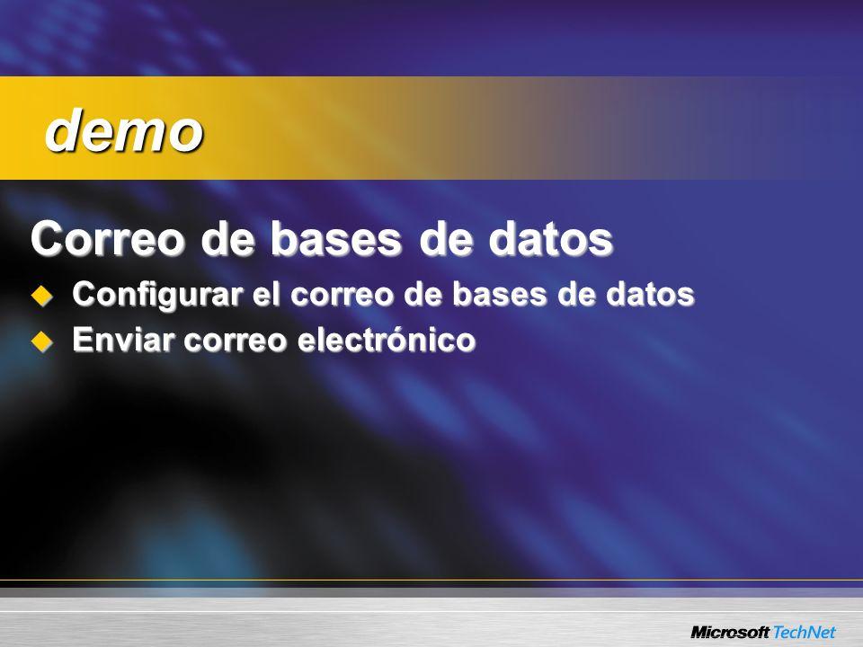 Correo de bases de datos Configurar el correo de bases de datos Configurar el correo de bases de datos Enviar correo electrónico Enviar correo electrónico demo demo