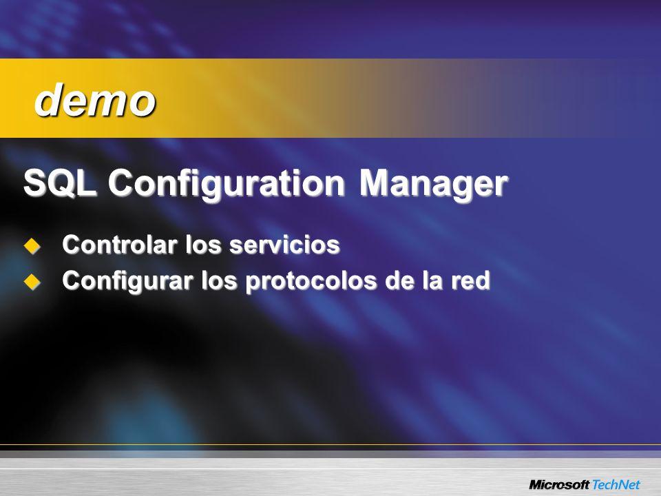 SQL Configuration Manager Controlar los servicios Controlar los servicios Configurar los protocolos de la red Configurar los protocolos de la red demo demo