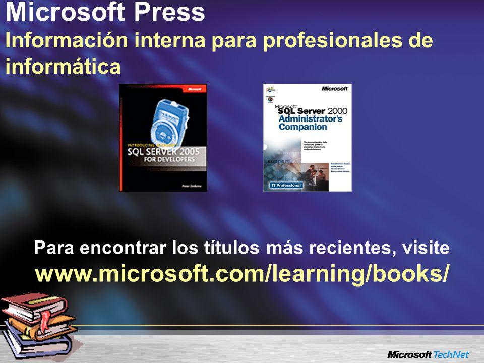 Microsoft Press Información interna para profesionales de informática Para encontrar los títulos más recientes, visite www.microsoft.com/learning/books/