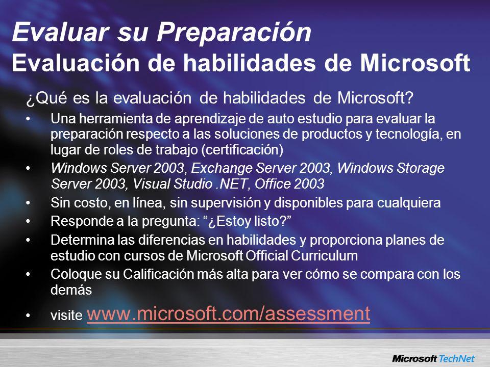 Evaluar su Preparación Evaluación de habilidades de Microsoft ¿Qué es la evaluación de habilidades de Microsoft.