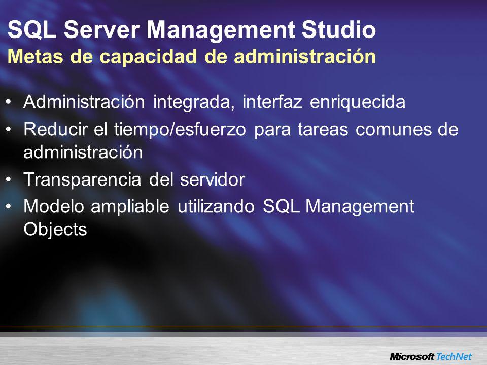 SQL Server Management Studio Metas de capacidad de administración Administración integrada, interfaz enriquecida Reducir el tiempo/esfuerzo para tareas comunes de administración Transparencia del servidor Modelo ampliable utilizando SQL Management Objects