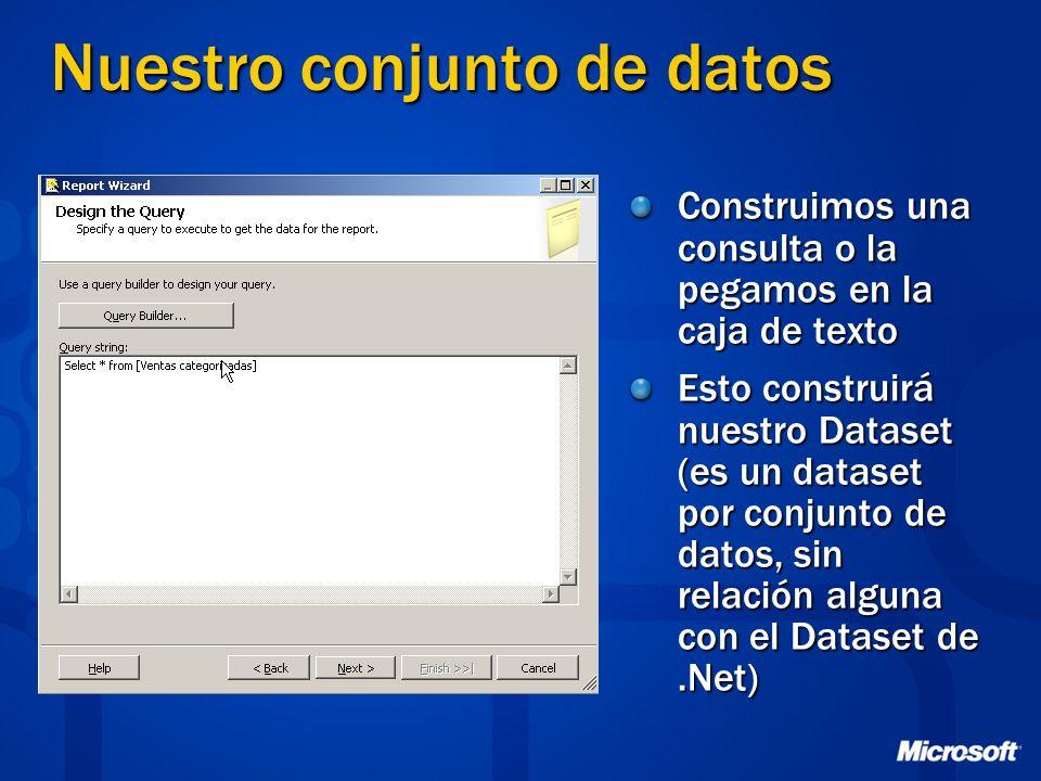 Nuestro conjunto de datos Construimos una consulta o la pegamos en la caja de texto Esto construirá nuestro Dataset (es un dataset por conjunto de dat