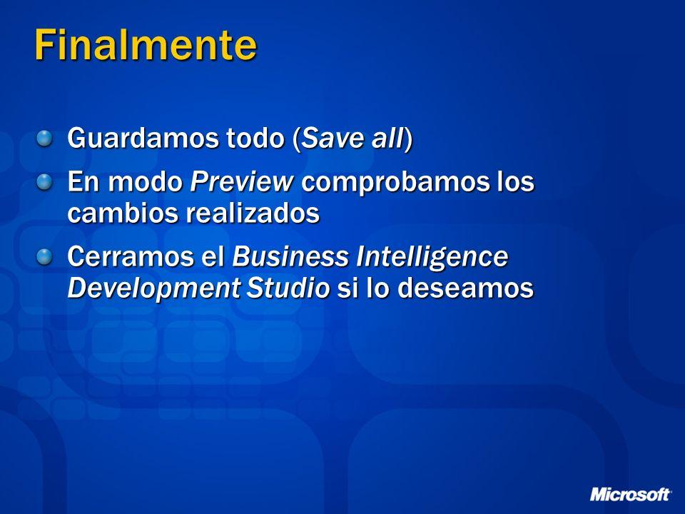 Finalmente Guardamos todo (Save all) En modo Preview comprobamos los cambios realizados Cerramos el Business Intelligence Development Studio si lo des
