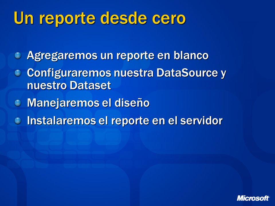 Un reporte desde cero Agregaremos un reporte en blanco Configuraremos nuestra DataSource y nuestro Dataset Manejaremos el diseño Instalaremos el repor