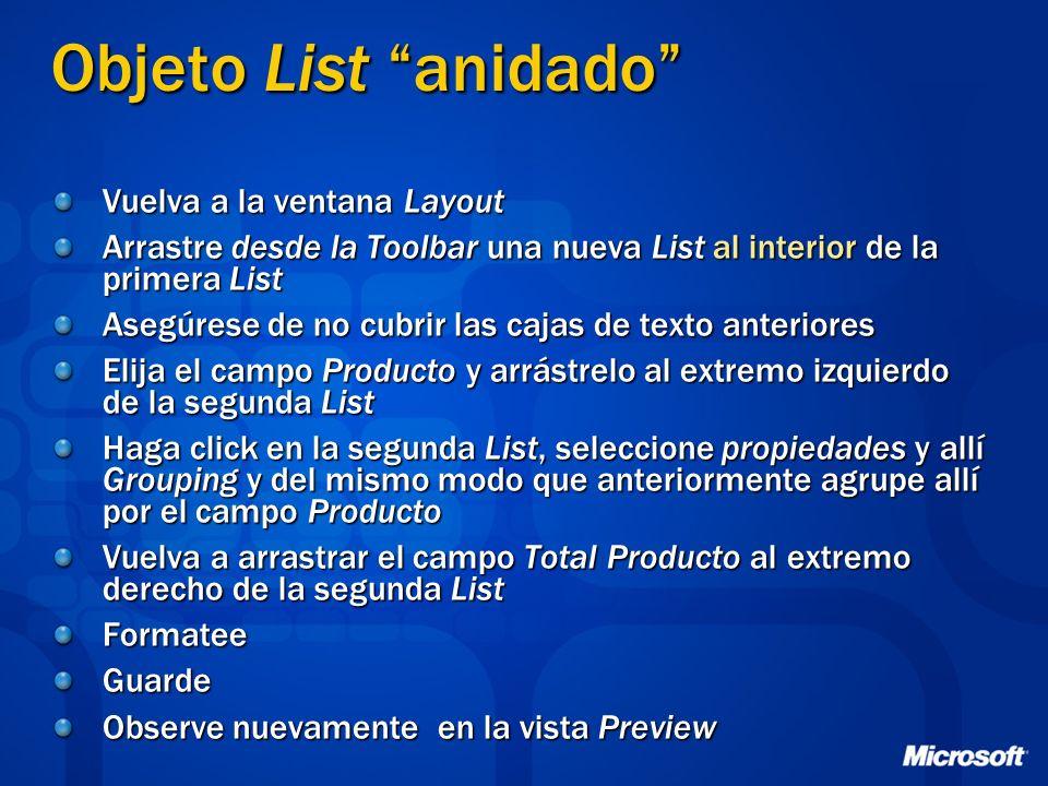 Objeto List anidado Vuelva a la ventana Layout Arrastre desde la Toolbar una nueva List al interior de la primera List Asegúrese de no cubrir las caja