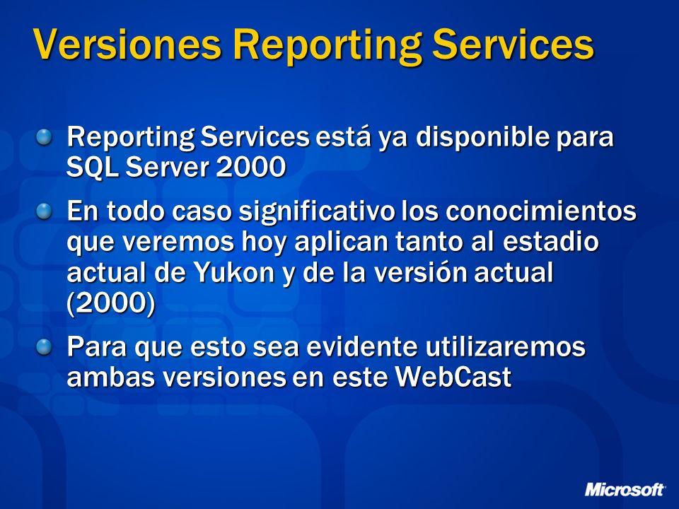 Versiones Reporting Services Reporting Services está ya disponible para SQL Server 2000 En todo caso significativo los conocimientos que veremos hoy a