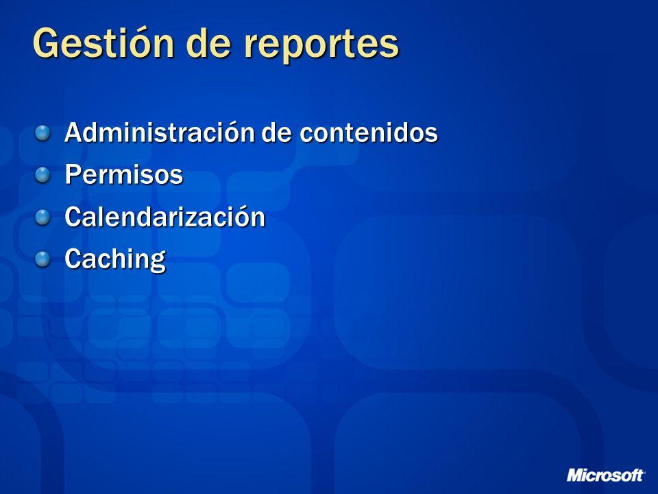 Gestión de reportes Administración de contenidos PermisosCalendarizaciónCaching