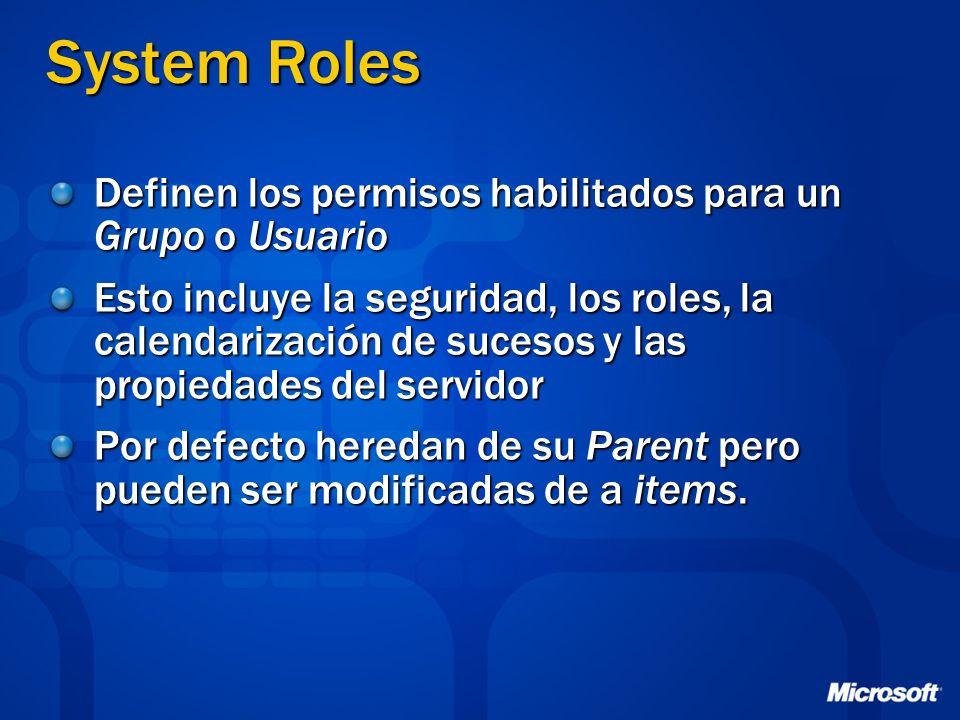 System Roles Definen los permisos habilitados para un Grupo o Usuario Esto incluye la seguridad, los roles, la calendarización de sucesos y las propie