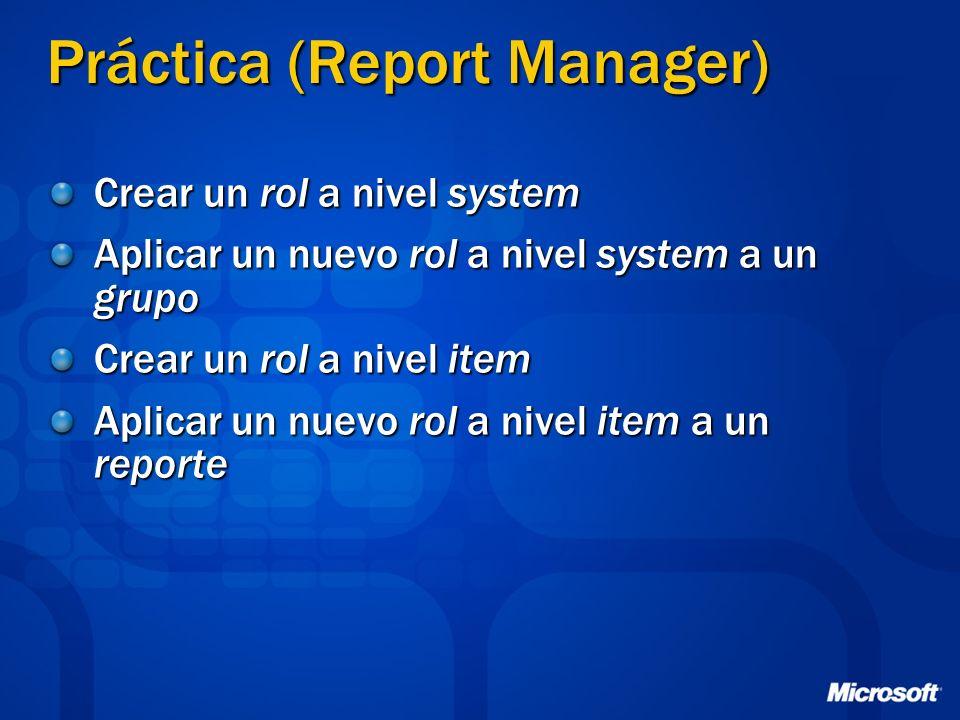 Práctica (Report Manager) Crear un rol a nivel system Aplicar un nuevo rol a nivel system a un grupo Crear un rol a nivel item Aplicar un nuevo rol a