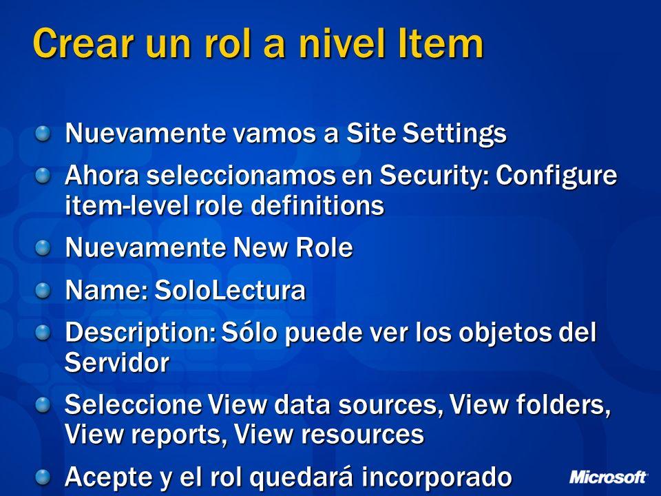 Crear un rol a nivel Item Nuevamente vamos a Site Settings Ahora seleccionamos en Security: Configure item-level role definitions Nuevamente New Role