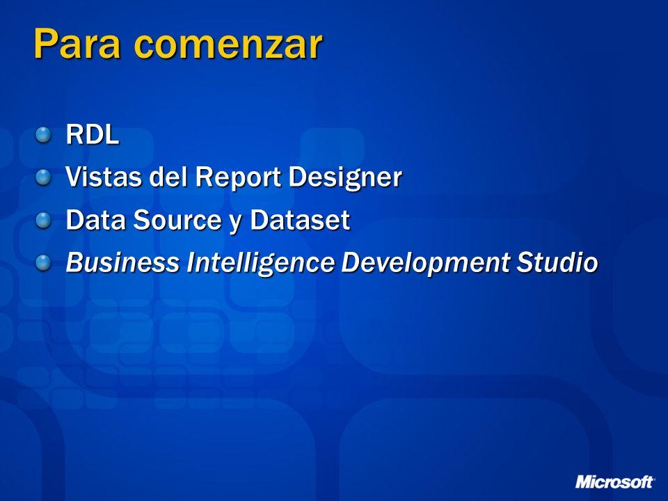 Para comenzar RDL Vistas del Report Designer Data Source y Dataset Business Intelligence Development Studio