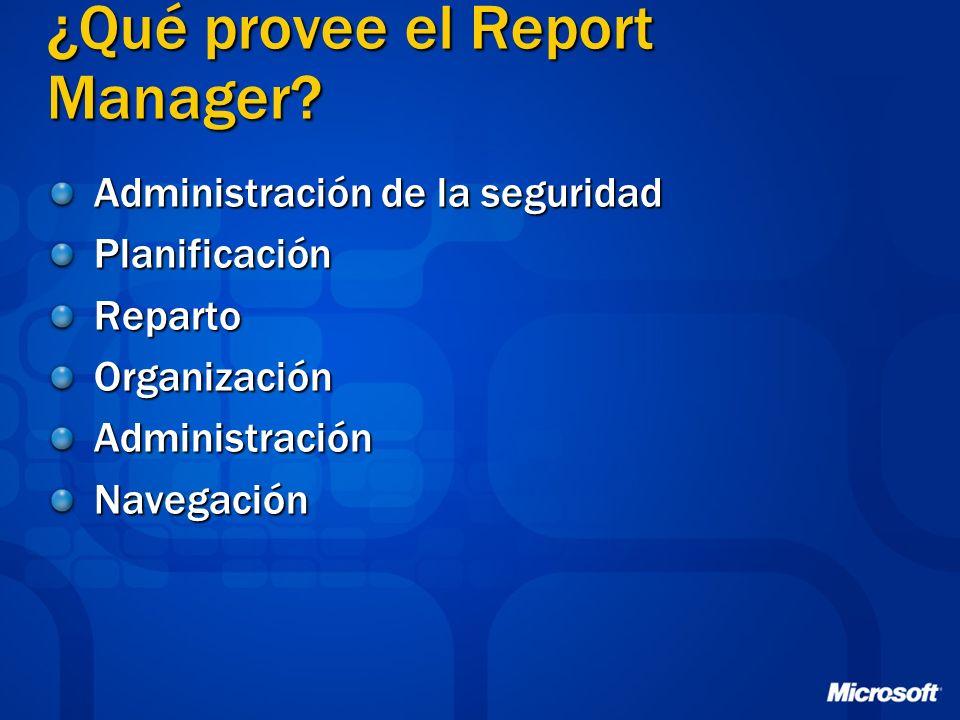 ¿Qué provee el Report Manager? Administración de la seguridad PlanificaciónRepartoOrganizaciónAdministraciónNavegación