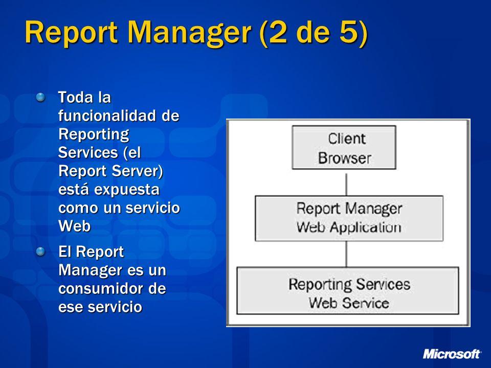 Report Manager (2 de 5) Toda la funcionalidad de Reporting Services (el Report Server) está expuesta como un servicio Web El Report Manager es un cons