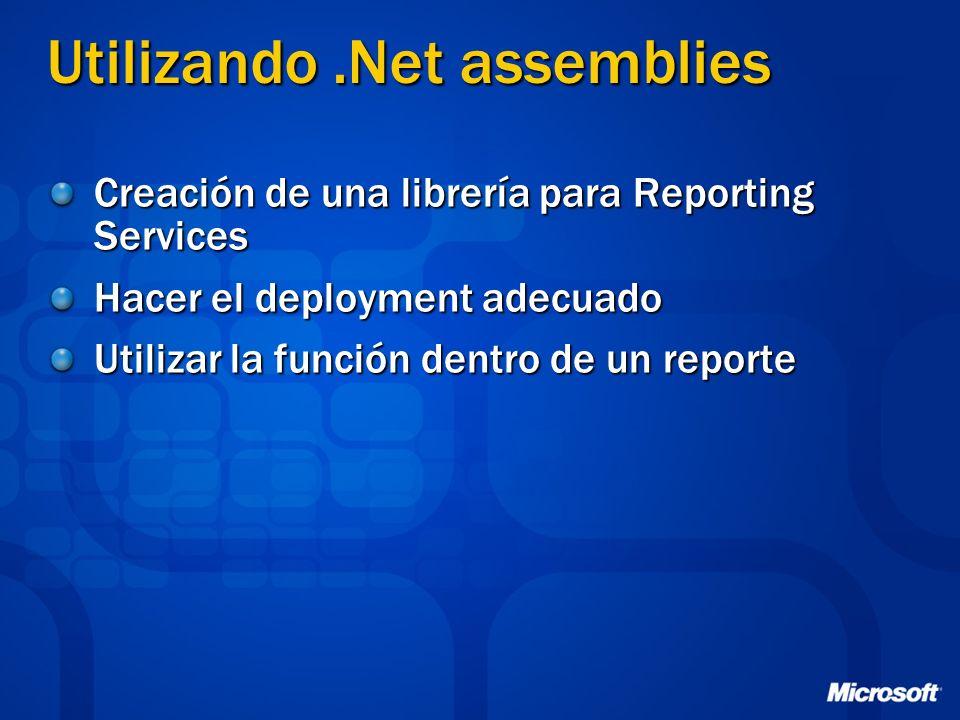 Utilizando.Net assemblies Creación de una librería para Reporting Services Hacer el deployment adecuado Utilizar la función dentro de un reporte
