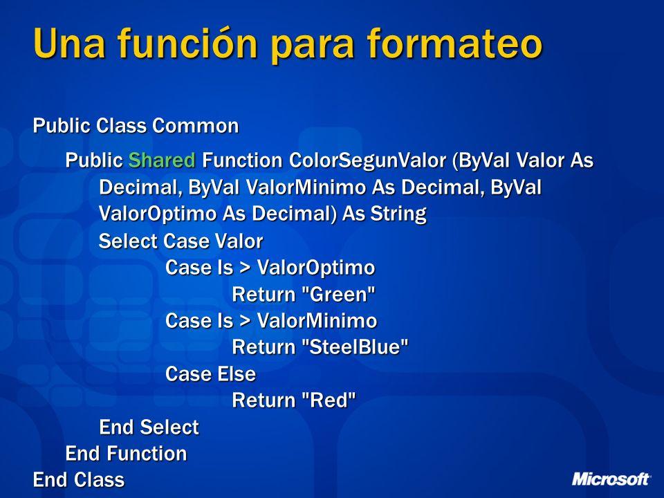 Una función para formateo Public Class Common Public Shared Function ColorSegunValor (ByVal Valor As Decimal, ByVal ValorMinimo As Decimal, ByVal Valo