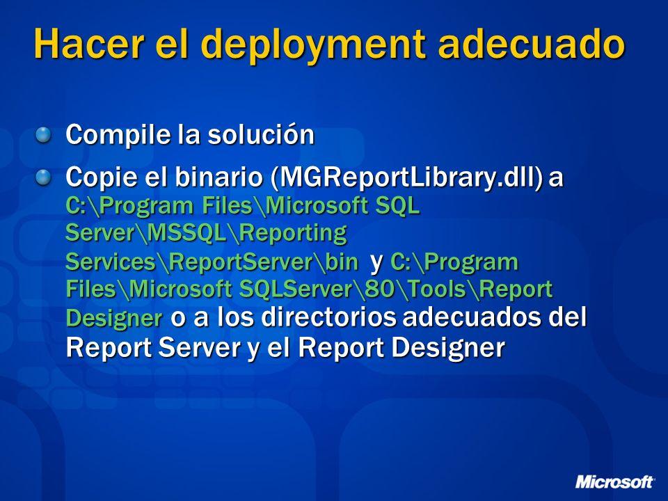 Hacer el deployment adecuado Compile la solución Copie el binario (MGReportLibrary.dll) a C:\Program Files\Microsoft SQL Server\MSSQL\Reporting Servic