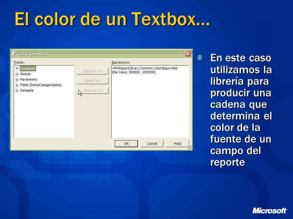 El color de un Textbox… En este caso utilizamos la librería para producir una cadena que determina el color de la fuente de un campo del reporte